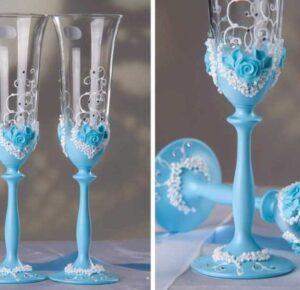 Свадебные бокалы своими руками: подробный мастер-класс для украшения своими руками, подбор декоративных элементов и материалов (фото + видео)